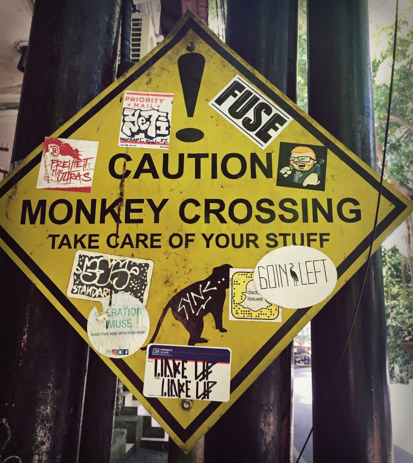 monkey crossing sign ubud monkey forest bali