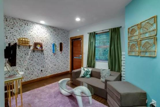 bohemian style living room airbnb south beach miami