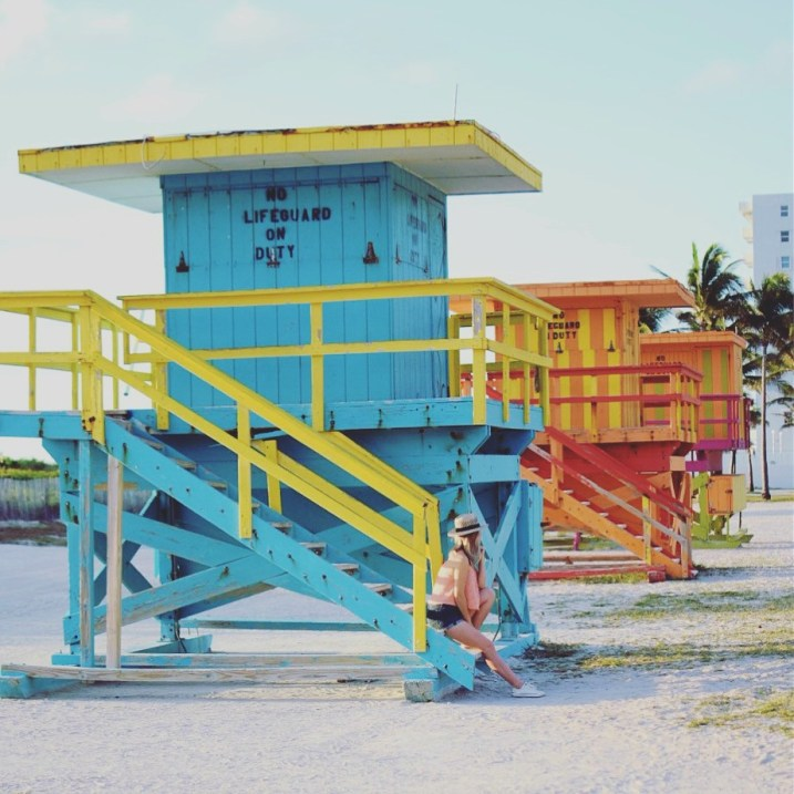 colorful lifeguard stands south beach miami