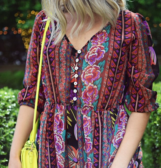 colorful vintage boho maxi dress