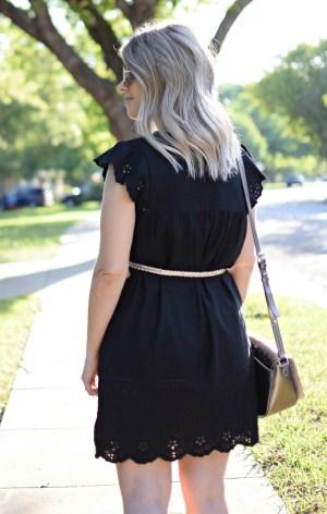 black old navy dress ootd