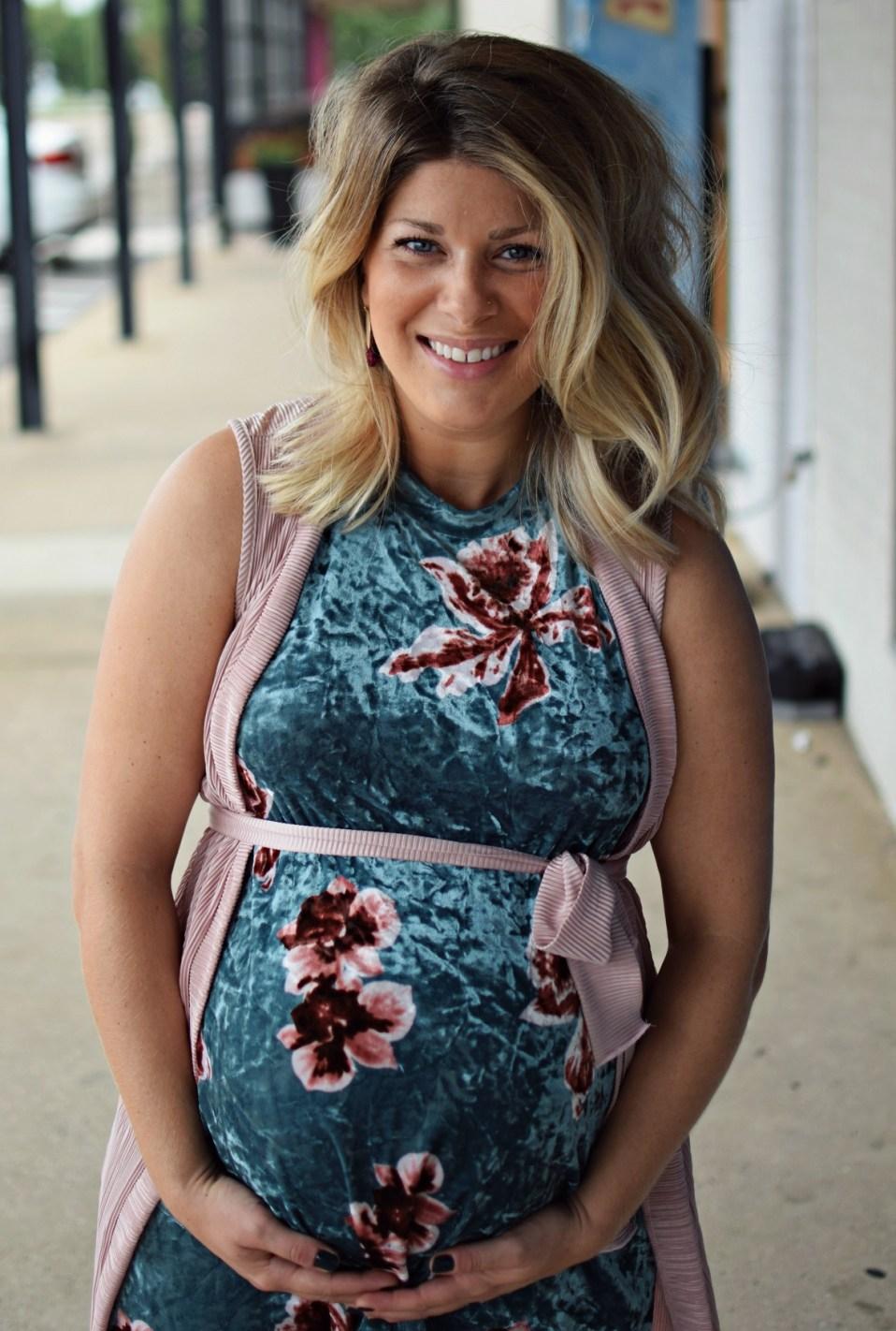 velvet dress birthday weekend 40 weeks pregnant