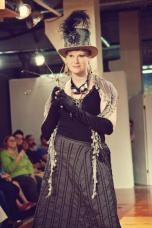 Runway Show at Indie Emporium. Jewelry & accessories by me. Hats by my mom, The Salvage Seamstress. Model: Caroline Chandler. Photo by Colin Huntley.