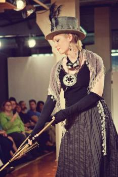 Runway Show at Indie Emporium. Jewelry & accessories by me. Hats by my mom, The Salvage Seamstress. Model: Caroline Chandler.