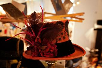 Close up of Miss Scarlet top hat by my mom, The Salvage Seamstress.