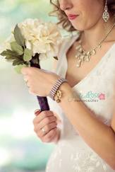 A close up of the bridal jewelry--a custom order.