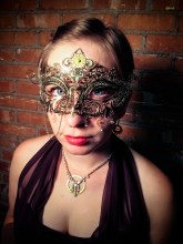 Me modeling a steampunk mask! DIY is on my blog!