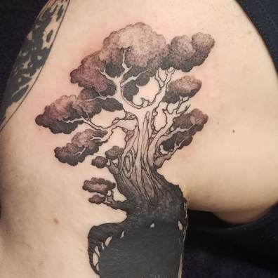 black and grey tree tattoo