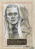 'What business does an Elf, a Dwarf, and a Man have in the Riddermark?' Topps Lord of the Rings LotR Masterpieces 2 sketch card by Soni Alcorn-Hender