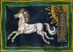 The standard of Rohan Topps Lord of the Rings LotR Masterpieces 2 sketch card by Soni Alcorn-Hender