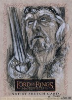 'Your fingers would remember their old strength better if they grasped your sword..', Topps Lord of the Rings LotR Masterpieces 2 sketch card by Soni Alcorn-Hender