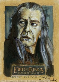 """You wish now that our places had been exchanged. That I had died and Boromir had lived."" Topps Lord of the Rings LotR Masterpieces 2 sketch card by Soni Alcorn-Hender"