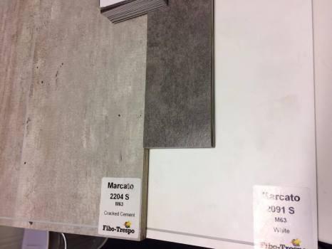 Valet av våtrumsskivor och golvmatta