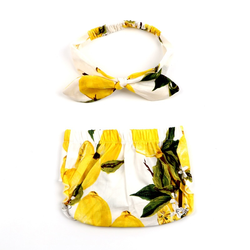 2pc New Handcrafted Lemon Design Diaper Bloomers and Headband