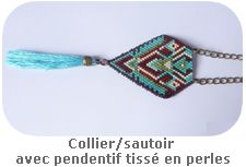 Collier/sautoir avec pendentif tissé en perles