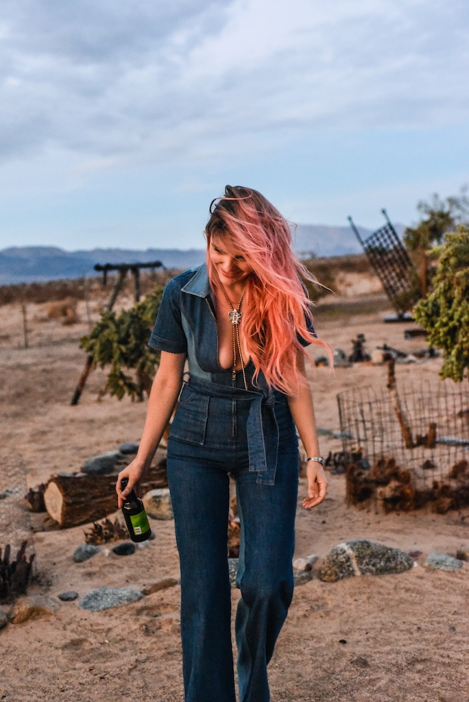 stoned-immaculate-denim-jumpsuit-vintage-70s-fashion-blogger-joshua-tree-overtone-color-conditioner-rose-gold-ombre-hair-extensions-boho-bunnie 42