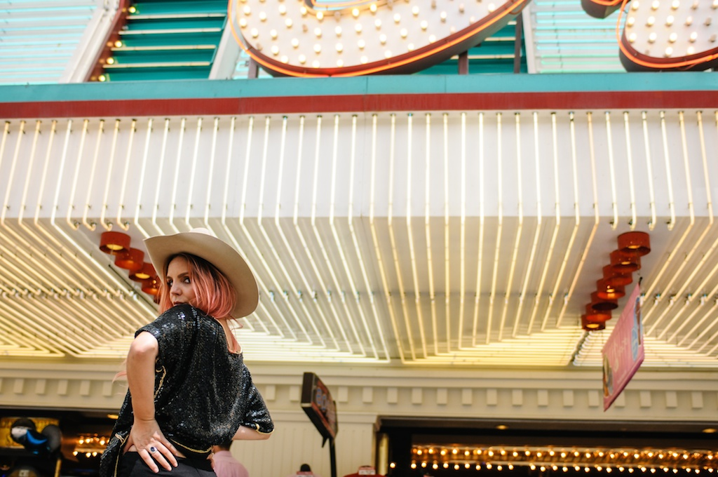 vegas-golden-nugget-vintage-sequin-80s-shirt-stetson-musician-fashion-blogger-overtone-cowboy-boots-bolo-downtown-neon-signs-17
