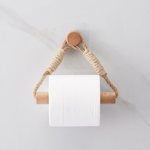 Retro Kitchen Roll Paper Accessory Hanging Rope Wall Mounted toilet paper holder Tube Bathroom Decor Rack Holders