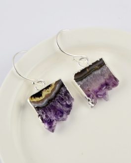 Boho Chic Amethysts Slice Earrings Silver Plated
