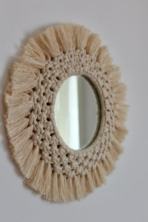 Diameter 35cm Macrame wall tapestry mirror round boho mirror wall macrame decorative mirror wall tapestry
