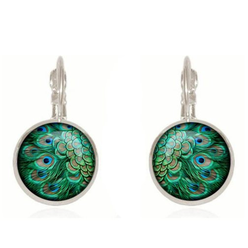 SUTEYI Fashion Crystal Earrings Unique Art Peacock Wiggling Feather Earring Jewelry Charm Animal Pattern Handmade Gift EF31