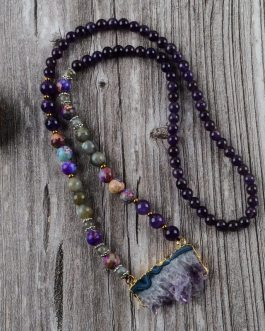 Boho Chic Necklace Natural Amethysts Stones Beads