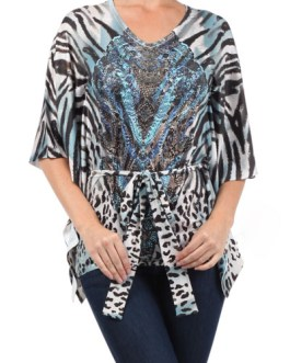 Boho Chic Tunic Blue Animal Print