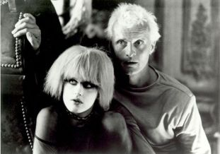"""Blade Runner (directed by Ridley Scott based on Philip K. Dick's novel """"Do Androids Dream of Electric Sheep?"""" w/ Rutger Hauer & Daryl Hannah in photo)"""