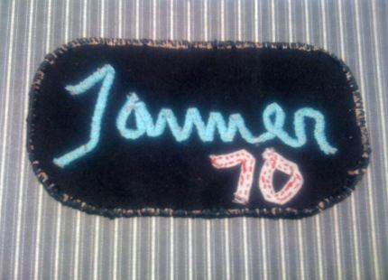 Personalized, hand embroidered name tag
