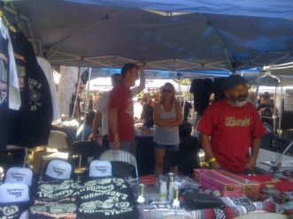 Triumph Motorcycle booth with skate legend, Steve Caballero