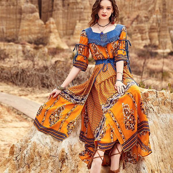 Artka ретро-платье с джинсовыми вставками
