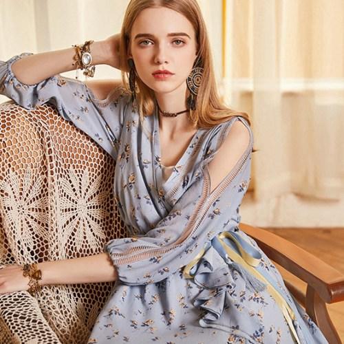 Artka платье голубое с поясом