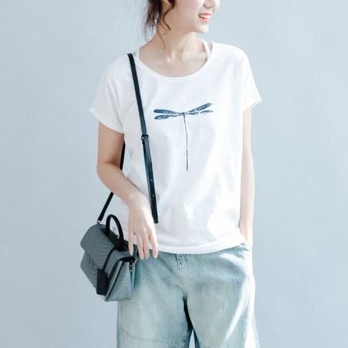 QINGZHUO футболка со стрекозой