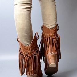 Provaperfetto сапоги с бахромой на каблуке