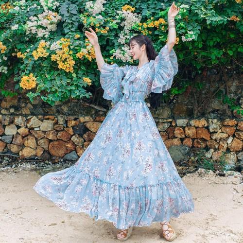 Boshow платье летящее в цветочек