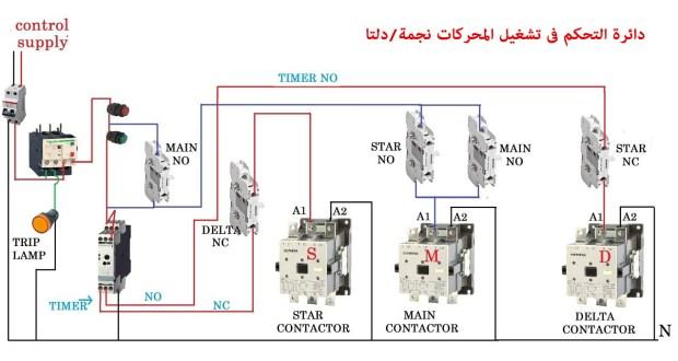 دائرة التحكم فى تشغيل المحركات نجمة دلتا