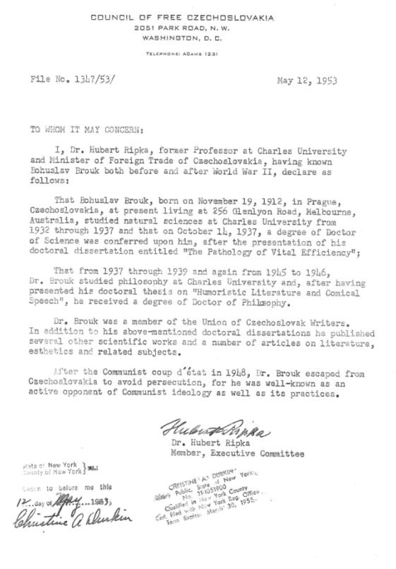 Potvrzení Rady svobodného Československa (12. května 1953)