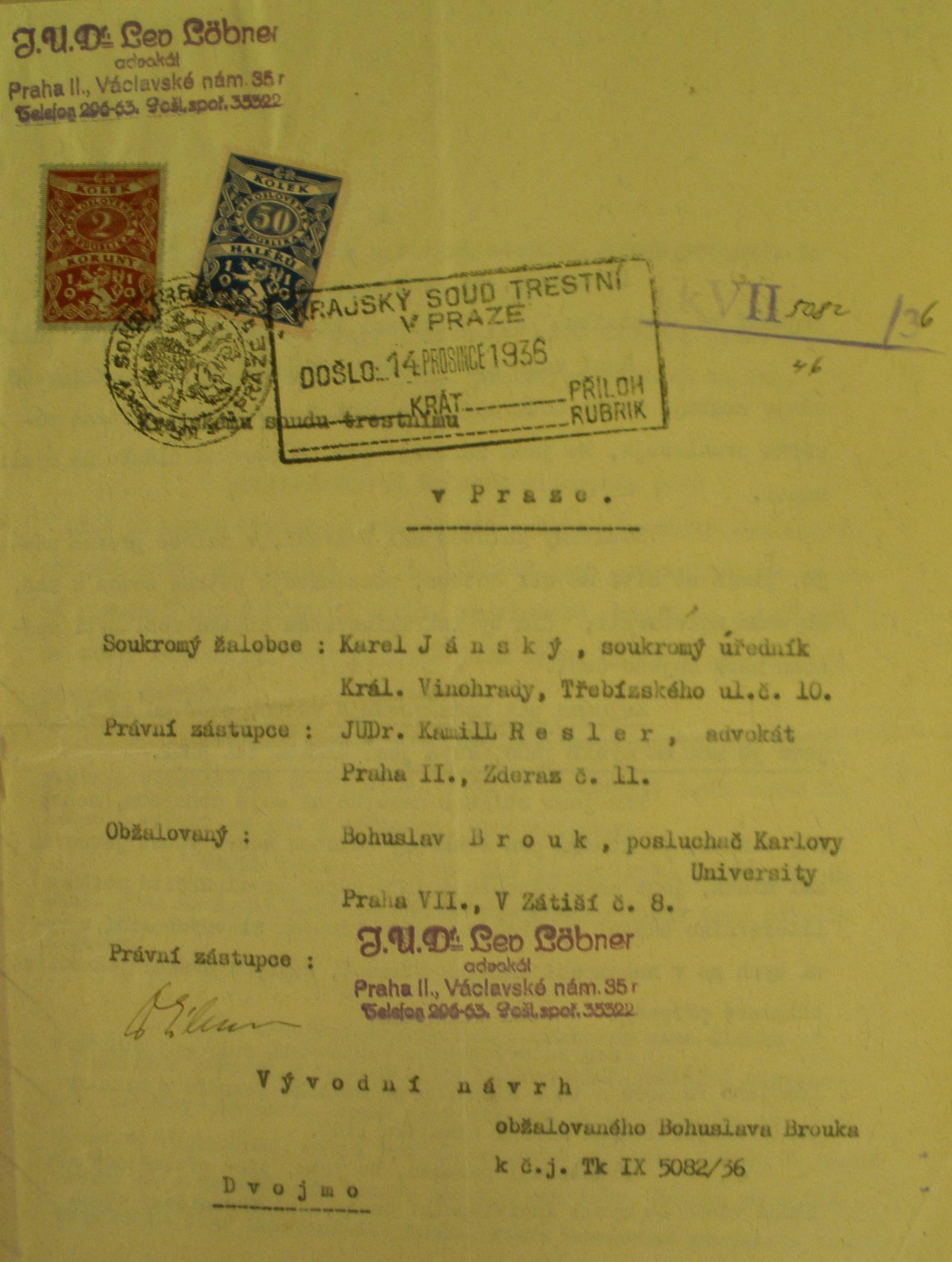 Titulní strana vývodního návrhu v soudním sporu s Karlem Janským, prosinec 1936