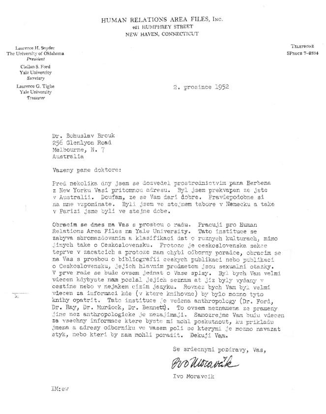 Dopis Iva Moravčíka (2. prosince 1952)