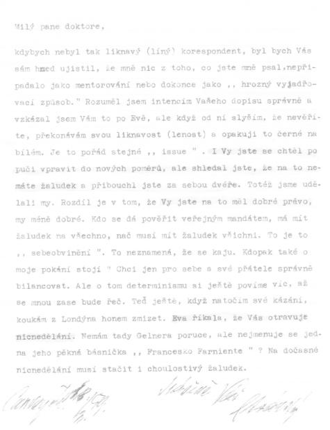 Dopis Jaroslava Stránského (únor 1959)