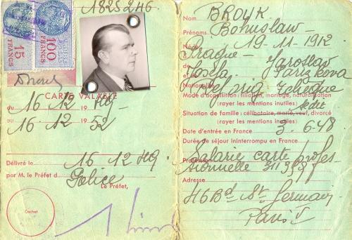 Průkaz trvalého pobytu, Paříž 1949