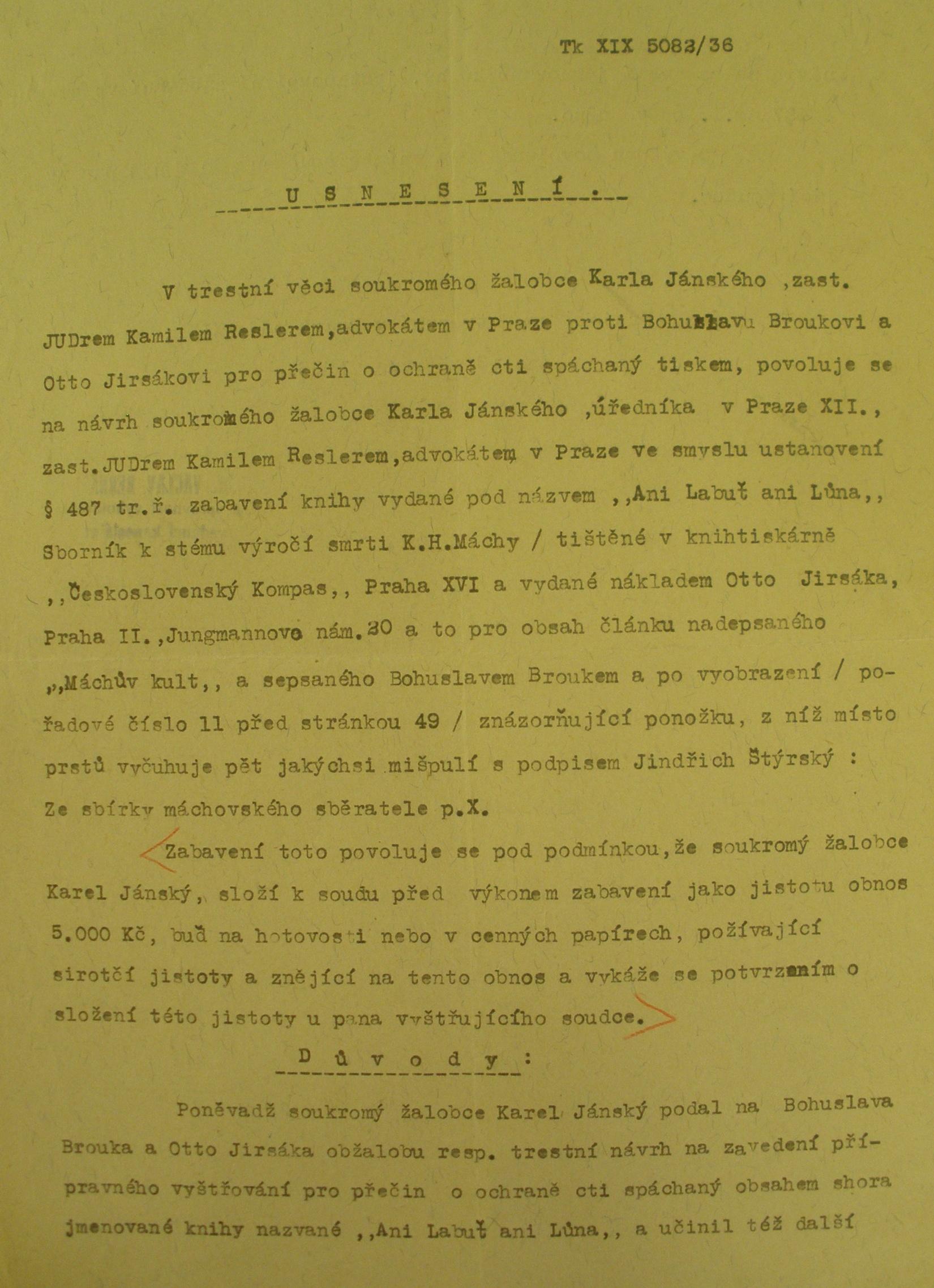 První strana soudního usnesení Krajského soudu trestního v Praze ve věci žaloby Karla Janského, 12. června 1936