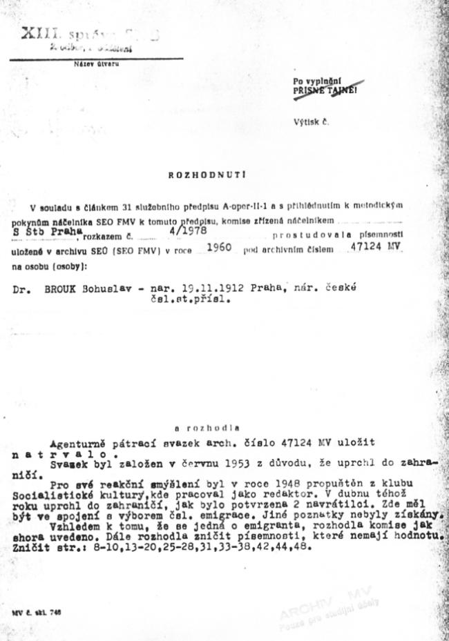 Rozhodnutí o archivaci Agenturně pátracího svazku natrvalo, XIII. správa SNB (1978)