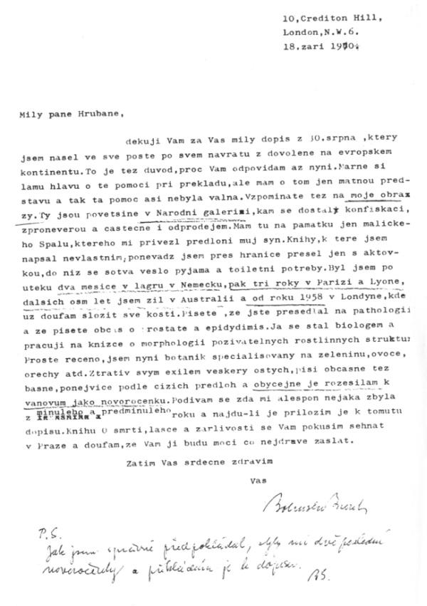 Dopis Zdeňkovi Hrubanovi, 18. září 1970
