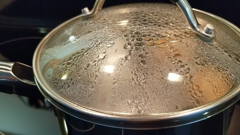 Once water is boiling, remove pot from heat cover with lid, and set time at the 10 minutes