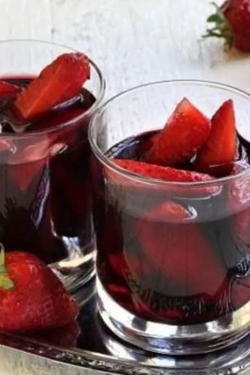 Strawberries in wine