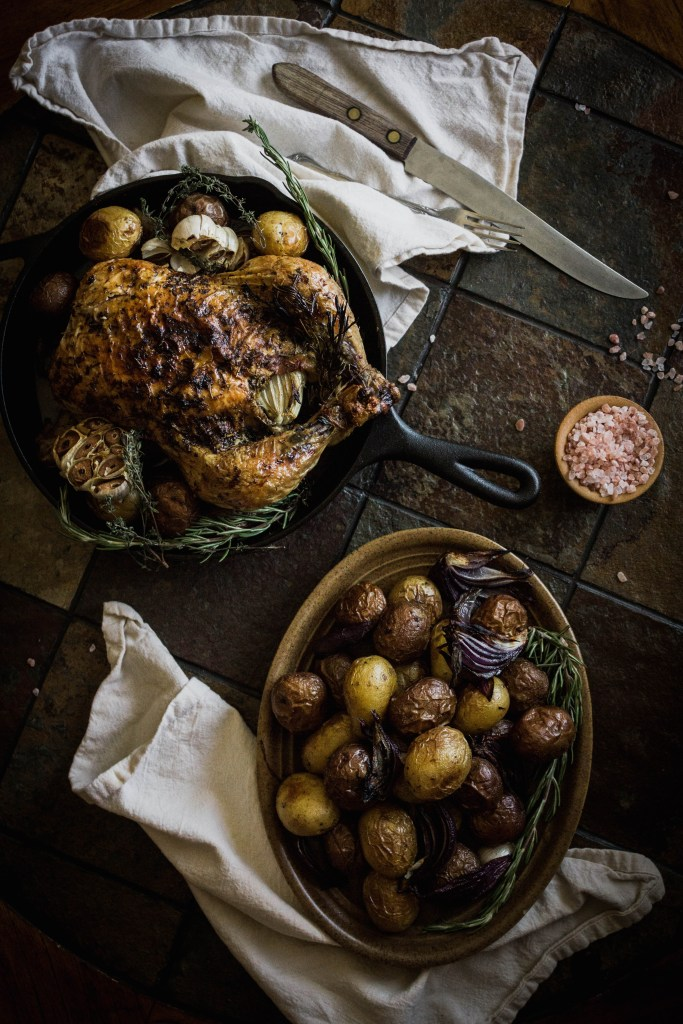 Simple Roast Chicken with Potatoes and Rosemary - Easy Roasted Chicken Recipe from Boiled Wheat