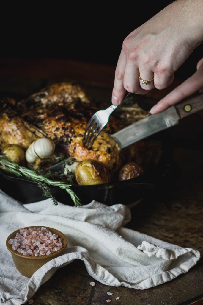 Simple Roasted Chicken with Potatoes and Rosemary from Boiled Wheat Blog