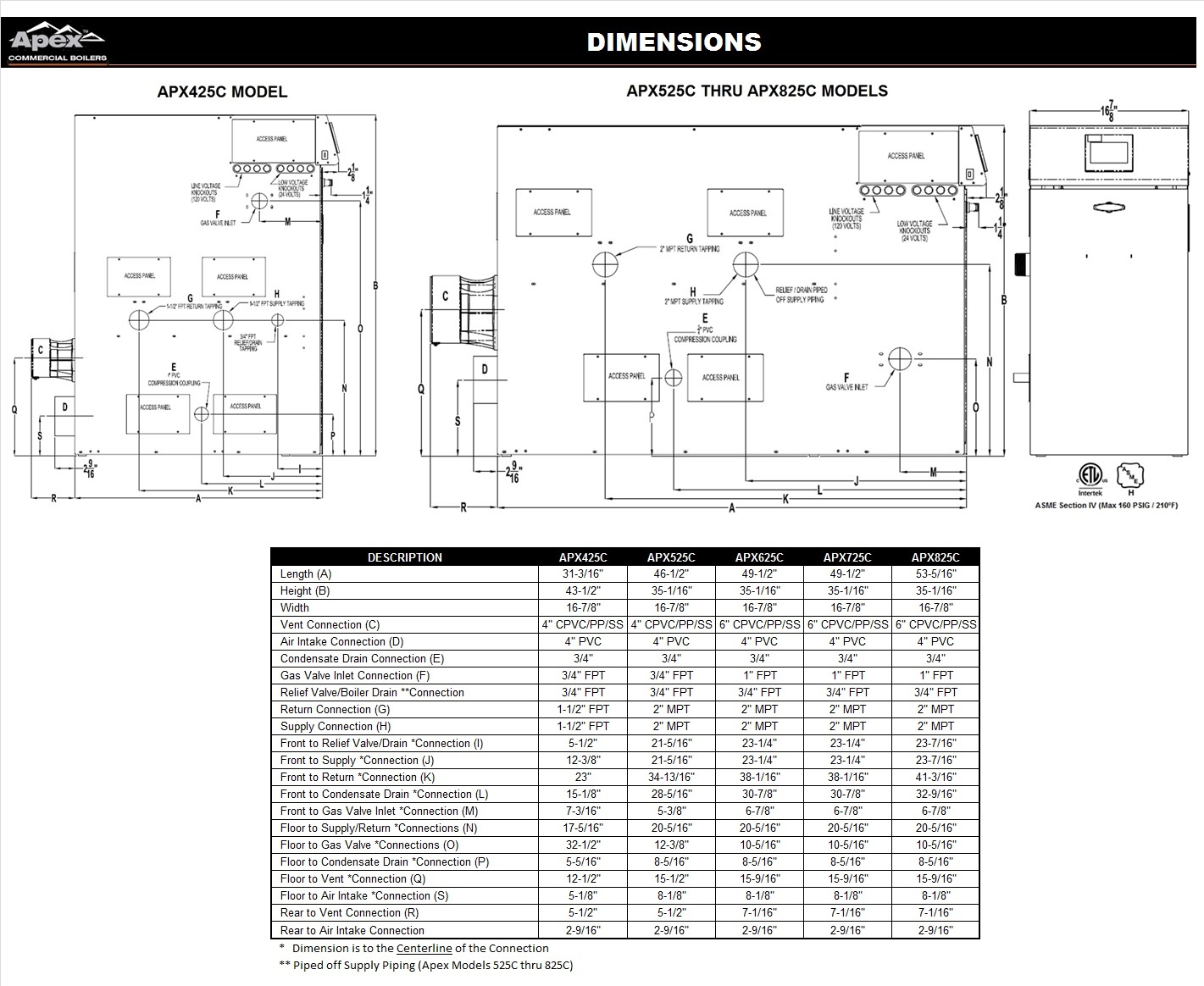 hight resolution of dimensional drawing for apex condensing hot water boilers