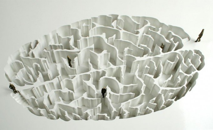 """Yoan Capote, Open Mind, 2008."""" A project to build an underground park made with walls that create a labyrinth similar to the human brain.""""  People become metaphors for neurons transmitting information as they walk around the maze - the intention being to inspire refle"""
